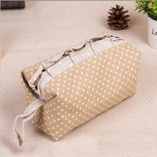 Lace with White Dots Printed Women Travel Jute Cosmetic Bag