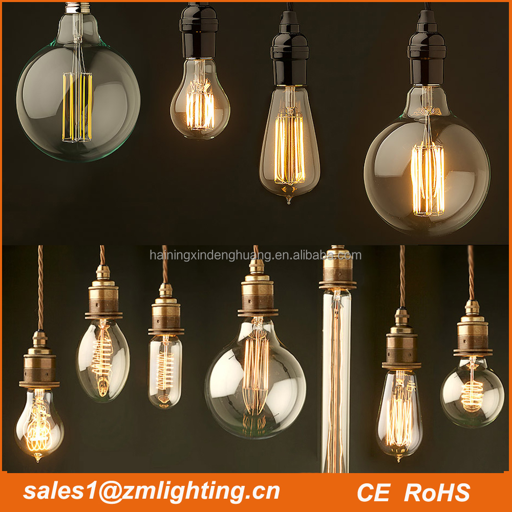 Led edison bulb:A19/A60 C35 ST64 G80 G125 T30 led dimmable vintage led filament bulb 85-265V 1w 2w 3w 4w 5w 6w 7w 8w edison led