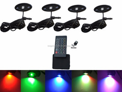 New 24key and 4key Two Remote RGB Music rock light kit 4pcs 9W Off Road LED Rock Light JEEP ATV Boat Truck Under Body Glow