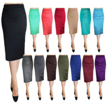 2017 Fashion OEM Sexy Bodycon Elegant Business Casual Solid Straight Pencil Skirt, below knee skirt