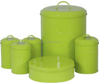 Round Bread Bin and Canister Set with Cake Box in Green