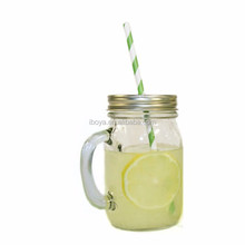 500ml High Quality Low Price Swing Top Food Glass Mason Jar Handle With Metal Lid