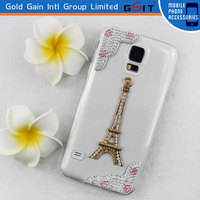 Fashinable Design Eiffile Tower 3D Diamond PC Transparent Case For Samsung S5 Diamond Cover For Galaxy S5