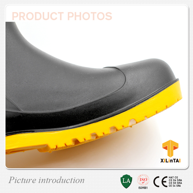 Cheap simple style safety PVC rain shoes with steel toe, industrial safety boots