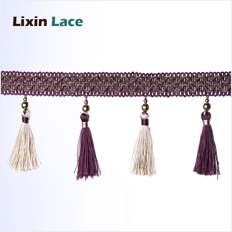 high quality Top selling long tassel trim fringe for curtain