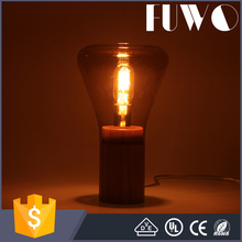 Factory Direct sale standing lights tansparent glass natural mushroom shape wooden base table Edison lamp