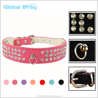 Hot Sale Bling Diamond Studded Suede Leather Dog Collar