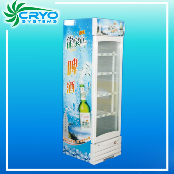 supermarket vertical single glass door soft drink refrigerated upright display freezer showcase