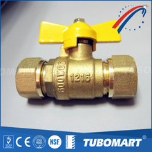 Tubomart 16mm pap pipe gas valve brass butterfly ball valve with CE approve