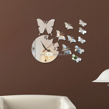 fashion butterfly DIY decorative stick wall clock