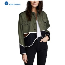 high quality women winter waterproof fashion Vintage Cropped Drab Jacket