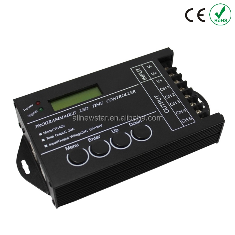 20A 5 Channel Output computer programmable Led Controller TC420 led dimmer controller timer Assemble with USB cable
