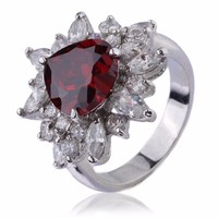 2016 Hot Selling Alloy Red Zircon One Stone Wedding Finger Ring Designs