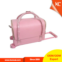 High quality PVC gloss cosmetic train travel portable vanity make-up cases, makeup suitcase cosmetic makeup suitcase