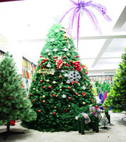outdoor shopping mall giant green artificial christmas tree with decorations