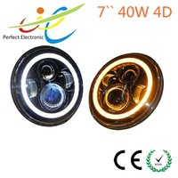 7inch off road head lights for jeep wrangler, 40W motorcycle projector headlight with angel eye for jeep