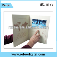Promotion A4 A5 lcd video brochure card and invitation lcd video greeting card