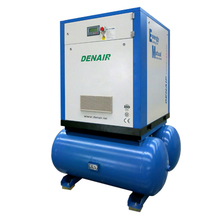 DENAIR screw air compressor and air tank mounted