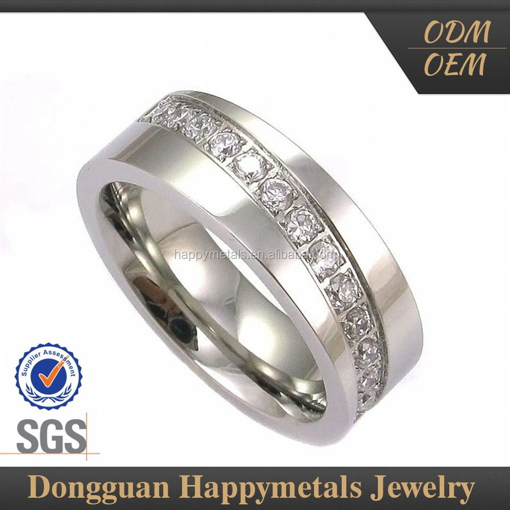 Quality First Custom Engraved Round Crystal stone stainless steel diamond Rings