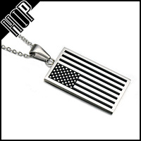 The United States Jewelry Stainless Steel America USA Flag Necklace
