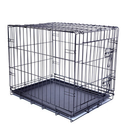 Pet THE BEST Collapsible Metal Pet Crate with Plastic Tray