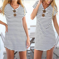 2016 Wholesales Sexy Women Casual Striped T Shirt Long Tops Blouse Beach Shirt Mini Summer Dress Short Sleeve Women Dress