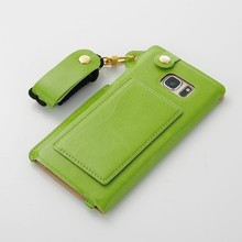 For Samsung Galaxy Note 7 Leather Case, card slots leather back cover case with kickstand Green