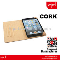 2013 new product cork leather case cover for ipad mini