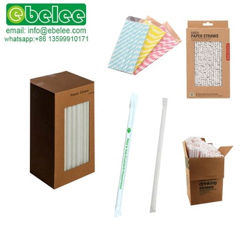 Wholesale Custom Printed Drinking Paper Straw White  Biodegradable Individually Wrapped China Manufacturer