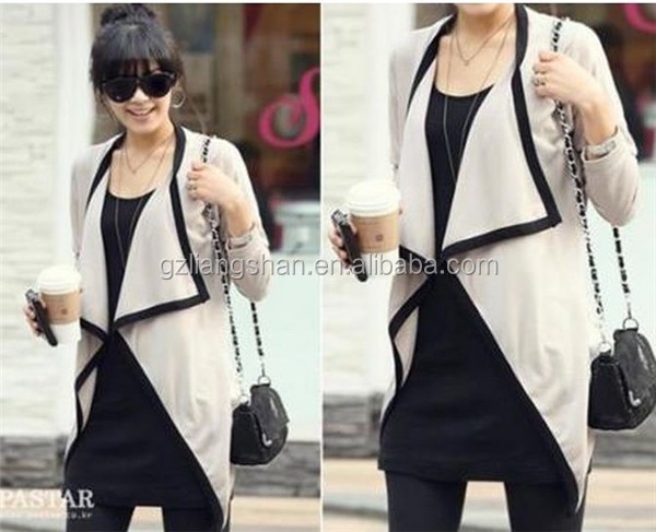 Fashion white women cotton cardigan custom sweater long wraps ladies hand knitted cardigan without button