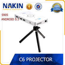 Original portable mini s905 android 5.1 4k projector DLP home theater c6 projector