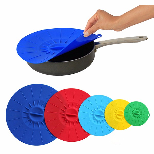 Wholesale hot product food grade silicone suction lid set of <strong>5</strong> microwave safe dishwasher safe