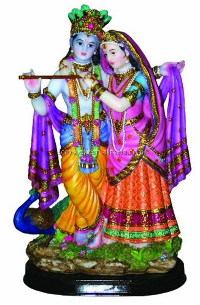 Personalized Hand Crafted Decorartive Poly Resin Krishna Hindu God Idol Statue