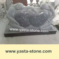 Wholesale Blue Pearl Granite Double Heart Headstone