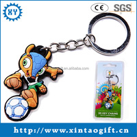 Fashion design rubber Fuleco keychain with plastic package, metal ring