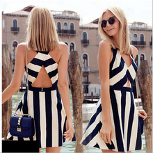 F20200A European fashion women bandage dress backless stripe dress v neck cut out sexy bandage dress for ladies