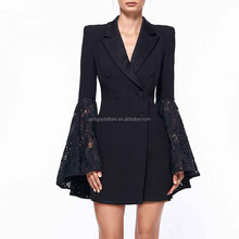 2018 new OL style black lace puff sleeve mini tailored skirt for women casual wear
