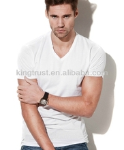 Wholesale cheap fashion short sleeve blank V-neck t shirt designs for men