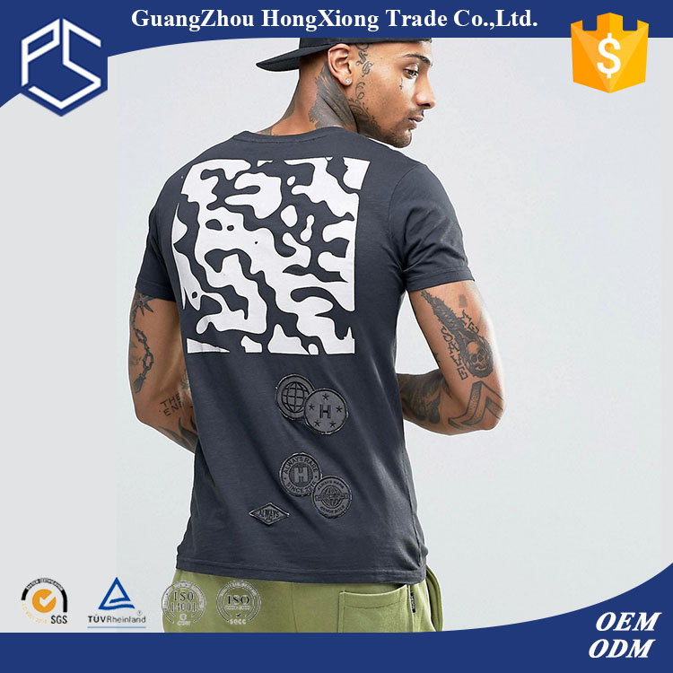 Factory OEMLatest Style Grey Back Digital Printing Patch stiching Embroidery Men bangladesh t shirt