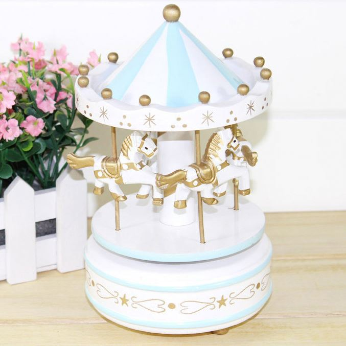 New Wooden Merry-Go-Round Carousel Music Box For Christmas Gift Kids Wedding Gift Toy