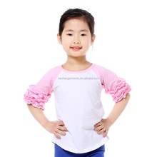children pink ruffled half sleeves white raglan t shirts tops baby girls blouses for summer wear