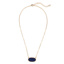 Wholesale High Quality Women New Trendy Resin Crystal Natural Druzy Stone Geometry Pendant Short Necklace