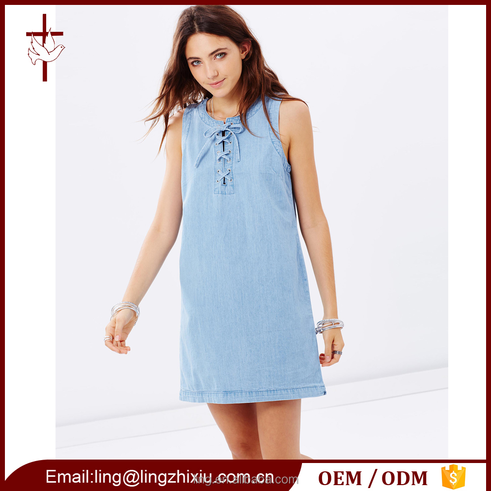 Hot Sale Cotton Chambray Shift Dress with Lace Up Front
