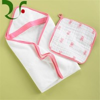 High quality 100% pure cotton custom baby hooded bath towel