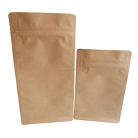 Customized Resealable Kraft Paper Aluminum Foil Ziplock Block Bottom Pouch with Zipper and Valve For Coffee Bean Packaging Bags