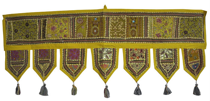 Ethnic Patchwork Cotton Door Hanging Yellow Color Door Hanging Retailer