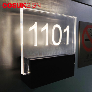 COSUN ada acrylic door plate house number for office Custom 3D led illuminated backlit house numbers