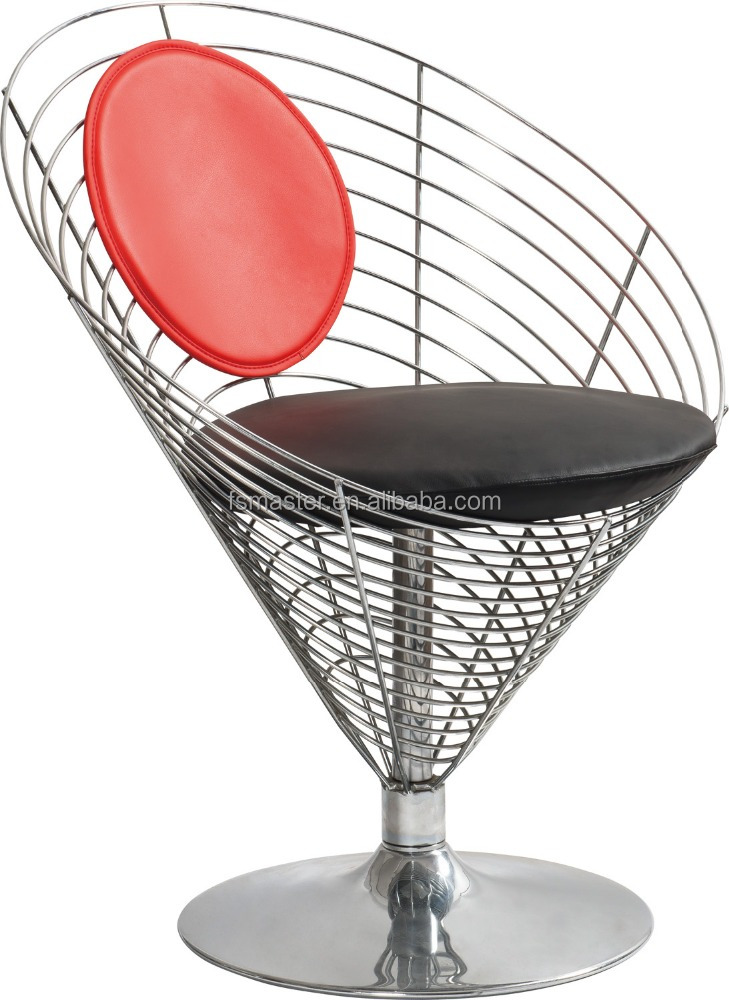 replica denmark furniture design chrome frame verner wire cone chair