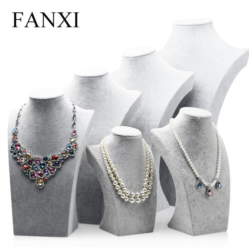 FANXI China Supplier Decorative Necklace Pendant Body Jewelry Holder Ice Velvet Large Shoulder Bust