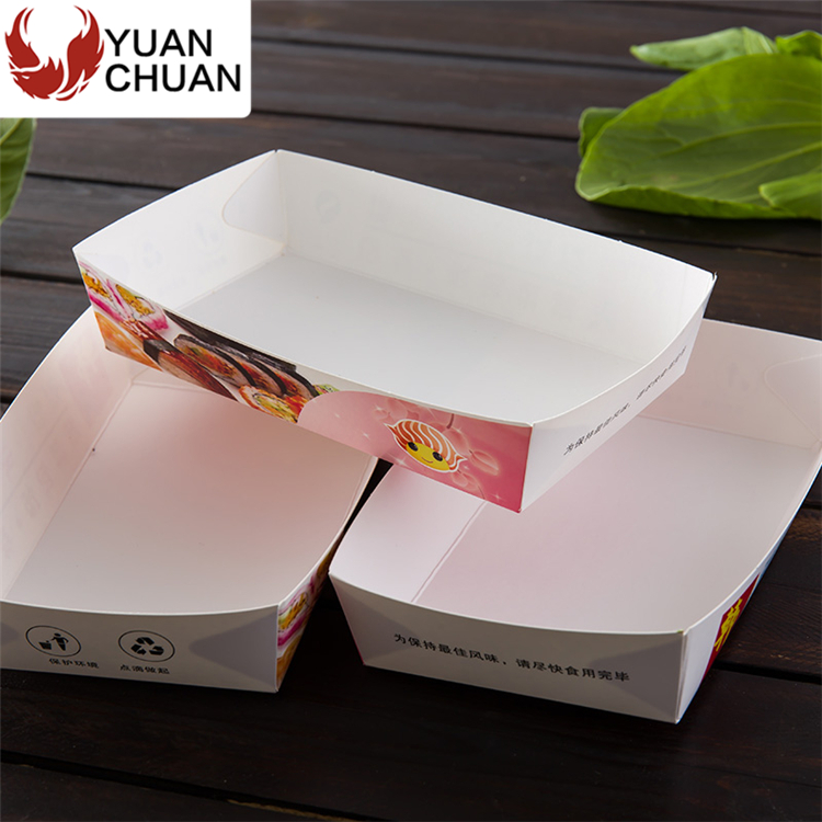 Disposable white cardboard sushi paper tray with logo